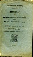 Universidad Central discurso de apertura de estudios leído el día 4 de octubre de 1840 por el Teniente Coronel de Artillería Joaquín Acosta, catedrático de química de la universidad (1841)