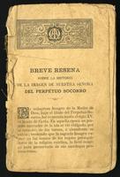 Breve reseña sobre la historia de la imagen de Nuestra Señora del Perpetuo Socorro (1900)