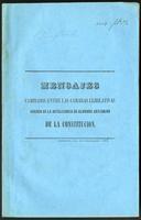 Mensaje del Presidente de la C. de Representantes al Senado (1854)