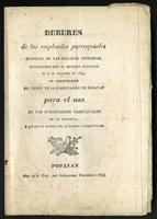 Deberes de los empleados parroquiales respecto de las escuelas primarias, establecidos por el decreto ejecutivo de 2 de noviembre de 1844 (1847)