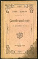 Leyes i decretos expedidos por la Asamblea Constituyente en sus sesiones de 1866
