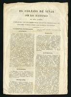 El colejio de niñas de La Merced de esta capital cumpliendo con sus respectivos estatutos presentarán un certamen público sobre las materias siguientes (1850)