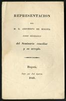 Representación que el M.R.P. Provincial de la Orden Hospitalaria dirige al congreso de 1835, exponiendo los graves inconvenientes que traen los inconsultos arreglos decretados por la cámara de esta provincia (1835)