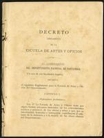 Decreto orgánico de la Escuela de Artes y Oficios (1890)
