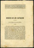 Deberes de los católicos en las próximas elecciones (1855)