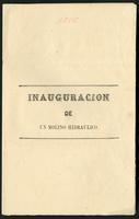 Inauguración de un Molino hidráulico (1885)