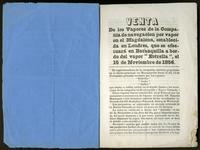 """Venta de los vapores de la Compañía de Navegación por vapor en el Magdalena, establecida en Londres, que se efectuará en Barranquilla a bordo del vapor """"estrella"""", el 15 de Noviembre de 1856. (1856)"""