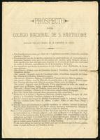Prospecto del Colegio Nacional de S. Bartolomé dirigido por los padres de la Compañía de Jesús (1900)