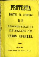 Protesta contra el decreto de desamortización de bienes de manos muertas (1861)