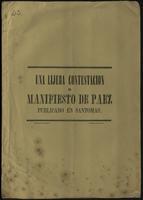 Una lijera contestación al Manifiesto de Páez publicado en Santomás (1848)