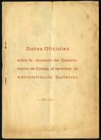 Datos oficiales sobre la situación del Departamento de Caldas, al terminar la administración Gutiérrez (1923)