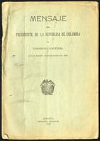 Mensaje del Presidente de la República de Colombia al Congreso Nacional en las sesiones extraodinarias de 1923 (1923)