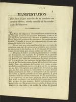 Manifestación que hace el que suscribe de su conducta en octubre último, siendo caudillo de la revolución del Socorro (1831)