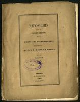 Esposición que el Gobernador de la Provincia de Mariquita presenta a la Cámara de la misma en las sesiones de 1847