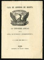Caja de Ahorros de Bogotá 13th informe Anual de la junta de inversiones i superintendencia (1859)