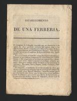 Establecimiento de una ferrería (1833)