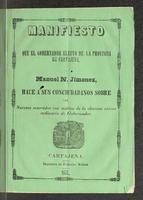 Manifiesto del gobernador electo de Cartajena, & & & (1857)