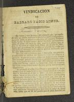 Vindicación de Bárbaro Facio Lince (1855)